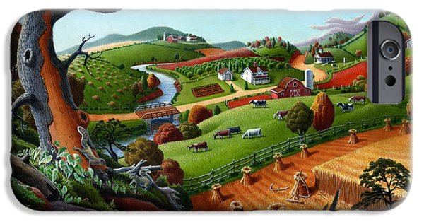 Amish iPhone Cases - Appalachian Fall Thanksgiving Wheat Field Harvest Farm Landscape Painting - Rural Americana - Autumn iPhone Case by Walt Curlee