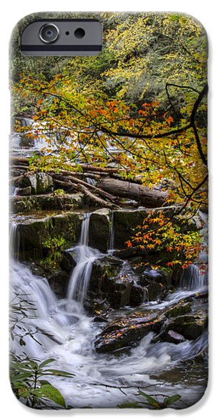 Oak Creek iPhone Cases - Appalachian Mountain Waterfall iPhone Case by Debra and Dave Vanderlaan