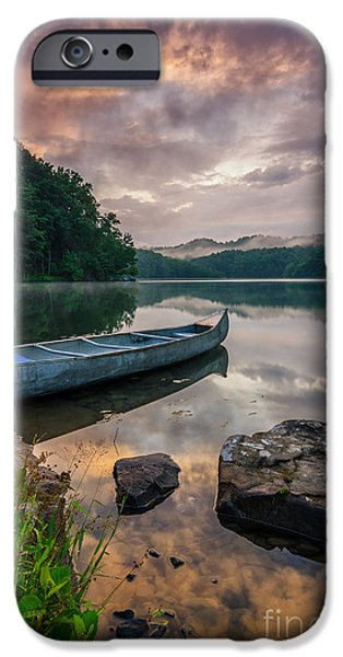 Canoe iPhone Cases - Appalachian waters iPhone Case by Anthony Heflin