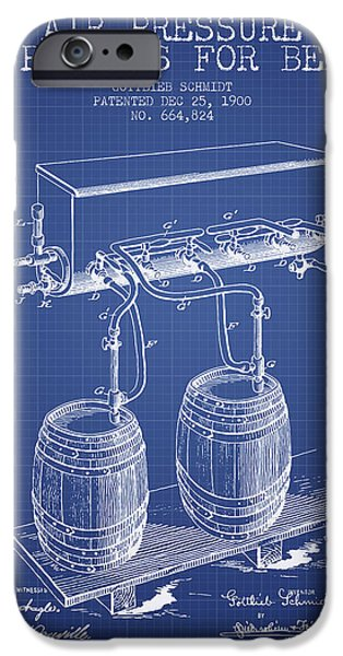 Tap iPhone Cases - Apparatus for Beer Patent from 1900 - Blueprint iPhone Case by Aged Pixel