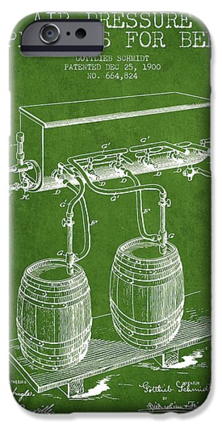 Tap iPhone Cases - Apparatus for Beer Patent from 1900 - Green iPhone Case by Aged Pixel