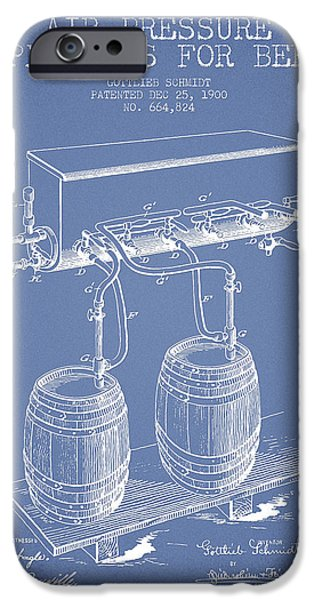 Tap iPhone Cases - Apparatus for Beer Patent from 1900 - Light Blue iPhone Case by Aged Pixel