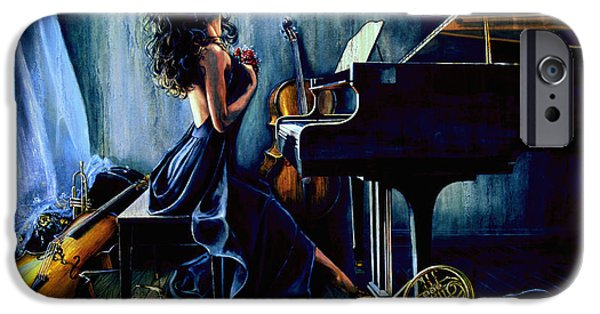 Grand Piano Paintings iPhone Cases - Appassionato iPhone Case by Hanne Lore Koehler