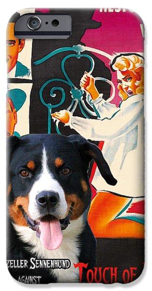 Portrait Of Evil iPhone Cases - Appenzeller Sennenhund - Appenzell Cattle Dog  Art Canvas Print - Touch of Evil Movie Poster iPhone Case by Sandra Sij