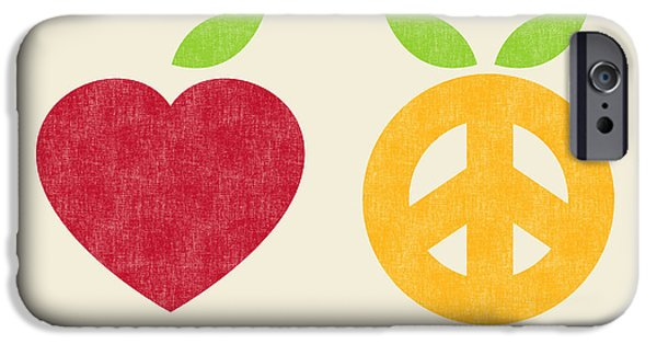 Apples iPhone Cases - Apple and Orange Peace and Love iPhone Case by Budi Satria Kwan