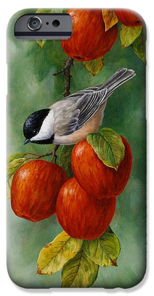 Fruit Tree iPhone Cases - Apple Chickadee iPhone5 Case V1 iPhone Case by Crista Forest