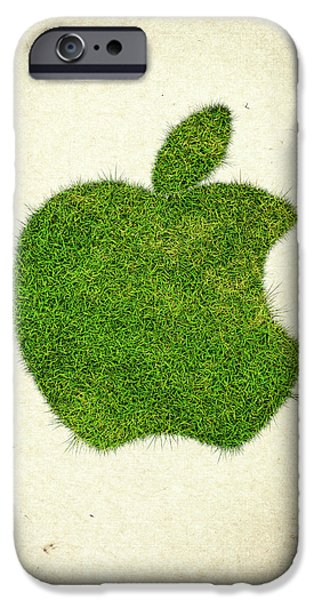 Grow iPhone Cases - Apple Grass Logo iPhone Case by Aged Pixel