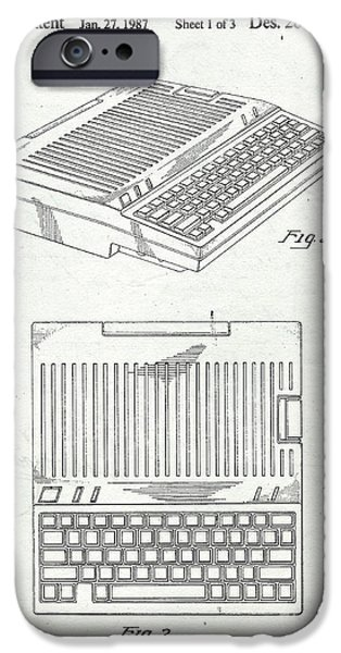 Computers iPhone Cases - Apple IIe Computer Original Patent iPhone Case by Edward Fielding