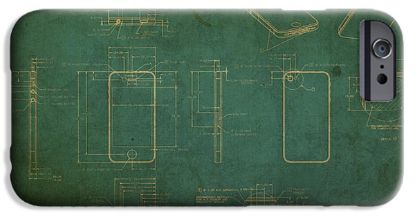 Plans iPhone Cases - Apple iPhone Vintage Retro Blueprints Plans on Worn Distressed Canvas iPhone Case by Design Turnpike