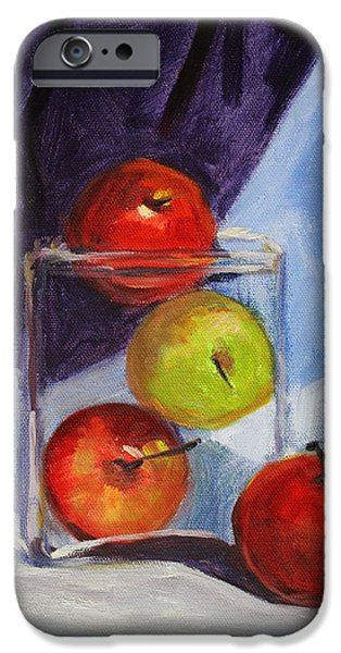 White Cloth iPhone Cases - Apple Jar Still Life Painting iPhone Case by Nancy Merkle