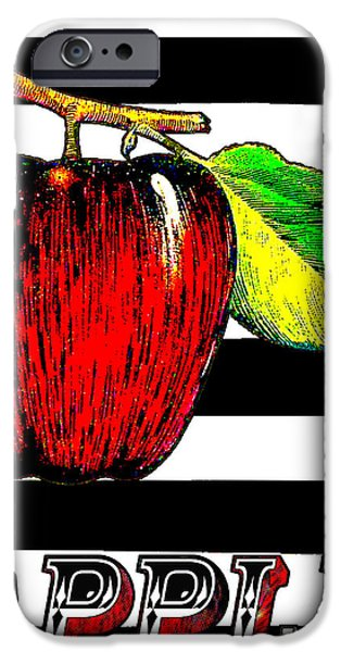 Pears Mixed Media iPhone Cases - Apple on Black White Stripes Art Print iPhone Case by ArtyZen Home