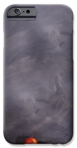 Ledge iPhone Cases - Apple On Ledge Of Blackboard iPhone Case by Bruno Crescia