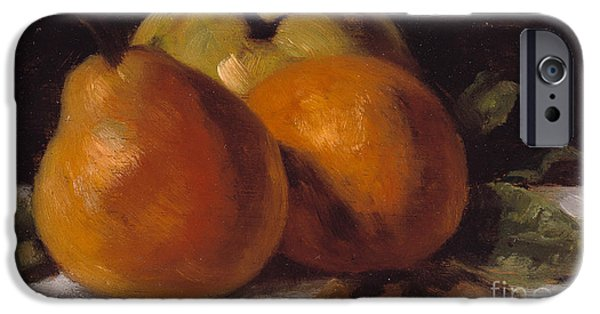 Pears iPhone Cases - Apple Pear and Orange iPhone Case by Gustave Courbet