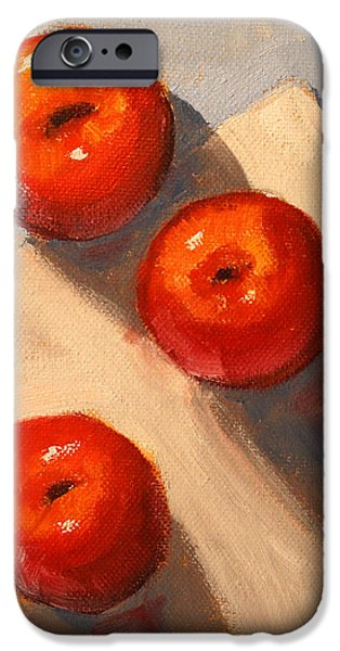 White Cloth iPhone Cases - Apple Trio Still Life iPhone Case by Nancy Merkle