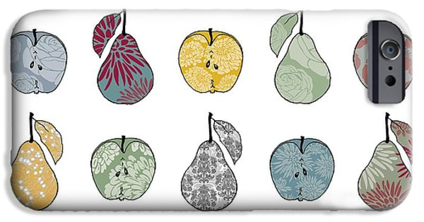 Pears Paintings iPhone Cases - Apples and Pears iPhone Case by Sarah Hough