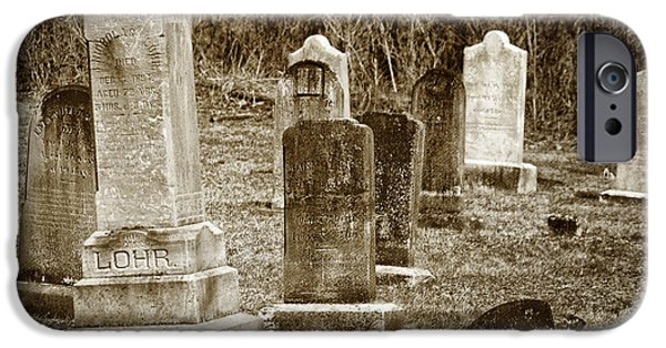 Headstone iPhone Cases - Apples Church Cemetery iPhone Case by Joan Carroll