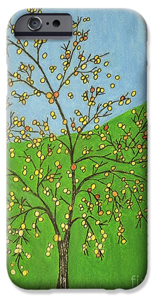 Garden Scene Paintings iPhone Cases - Apples iPhone Case by  Cora Eklund
