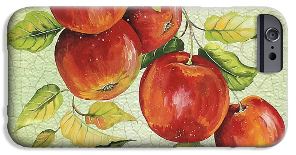 Digital Watercolor Paintings iPhone Cases - Apples on Watercolor iPhone Case by Jean Plout