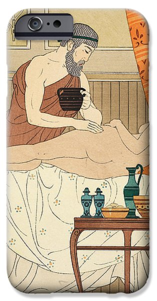 Nudity iPhone Cases - Application of White Egyptian Perfume to the Hip iPhone Case by Joseph Kuhn-Regnier
