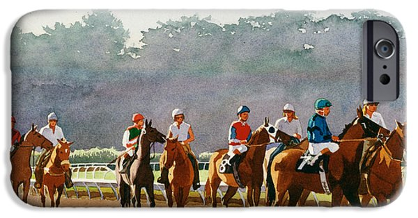 Racing Paintings iPhone Cases - Approaching the Starting Gate iPhone Case by Mary Helmreich