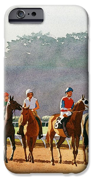 Approaching the Starting Gate iPhone Case by Mary Helmreich