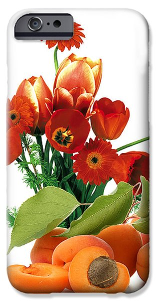Apricots and Red Roses iPhone Case by Munir Alawi