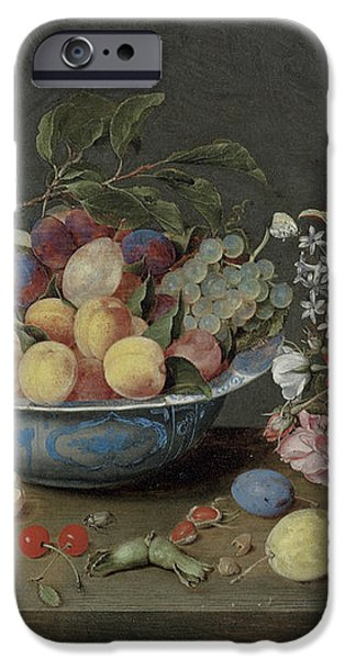Apricots plums and grapes in a bowl iPhone Case by Jacob Van Hulsdonck