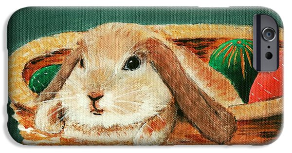 Animal Paintings iPhone Cases - April Bunny iPhone Case by Anastasiya Malakhova