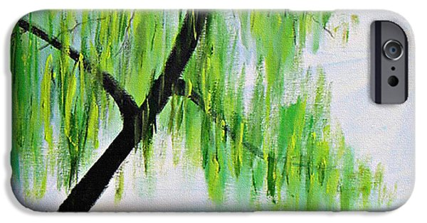 Willow Lake Paintings iPhone Cases - April iPhone Case by Kume Bryant