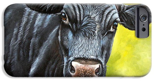 Steer Paintings iPhone Cases - April iPhone Case by Laura Carey