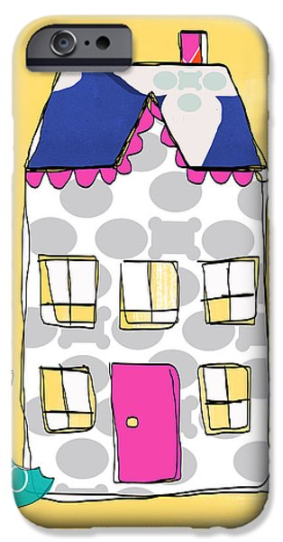 Umbrella Mixed Media iPhone Cases - April Showers House iPhone Case by Linda Woods