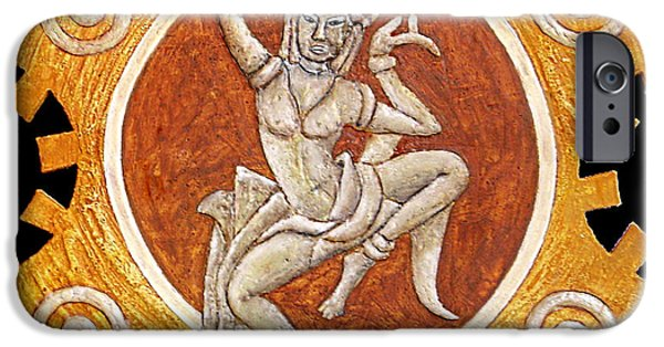 Culture Reliefs iPhone Cases - Apsaras iPhone Case by Anna Maria Guarnieri