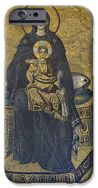 Apse mosaic Hagia Sophia Virgin and Child iPhone Case by Ayhan Altun