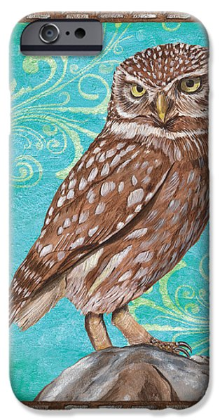 Fall Season iPhone Cases - Aqua Barn Owl iPhone Case by Debbie DeWitt