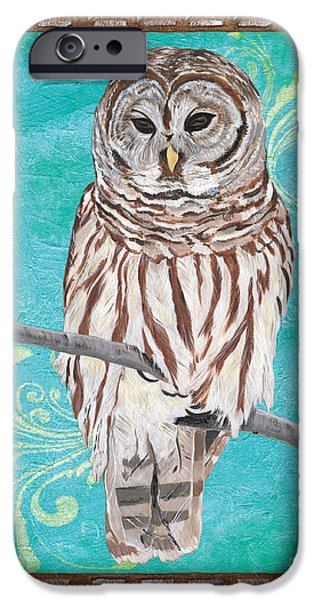 Aviary iPhone Cases - Aqua Barred Owl iPhone Case by Debbie DeWitt