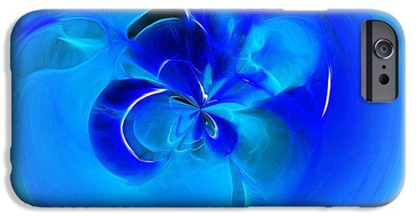 Fractal Orbs iPhone Cases - Aqua Blue Orb iPhone Case by Kaye Menner