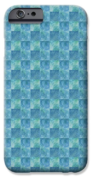 Elegant Mixed Media iPhone Cases - Aqua Checkers iPhone Case by Jenny Armitage