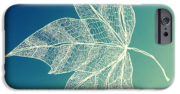 Catherine White Digital Art iPhone Cases - Aqua Leaf Study 1 iPhone Case by Cathy Jacobs