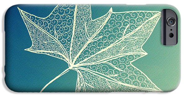 Catherine White Digital Art iPhone Cases - Aqua Leaf Study 3 iPhone Case by Cathy Jacobs