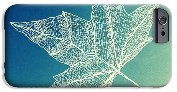 Catherine White Digital Art iPhone Cases - Aqua Leaf Study 4 iPhone Case by Cathy Jacobs