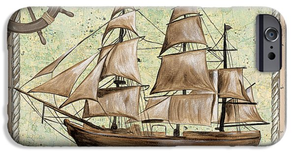 Pirate Ship iPhone Cases - Aqua Maritime 1 iPhone Case by Debbie DeWitt