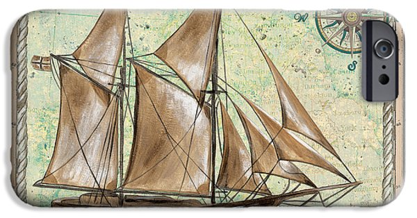 Sailboat Paintings iPhone Cases - Aqua Maritime 2 iPhone Case by Debbie DeWitt