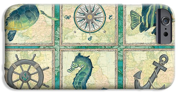 Maps Paintings iPhone Cases - Aqua Maritime Patch iPhone Case by Debbie DeWitt