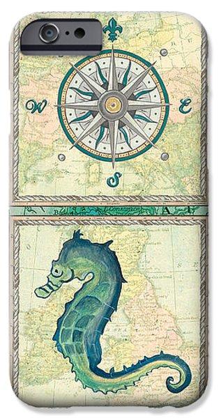 Aqua Maritime Patch iPhone Case by Debbie DeWitt