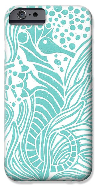 Ocean Images iPhone Cases - Aqua Seahorse iPhone Case by Stephanie Troxell