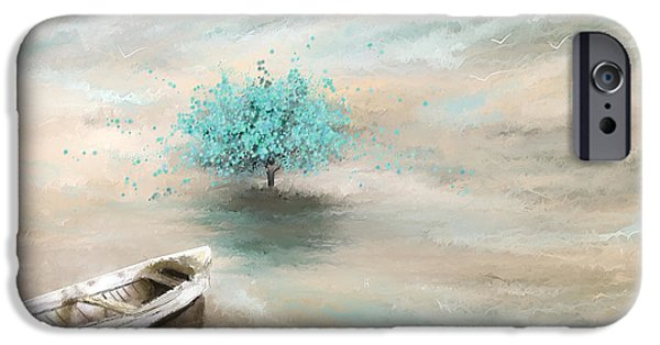 Flower Of Life Paintings iPhone Cases - Aqua Tree Of Life iPhone Case by Lourry Legarde
