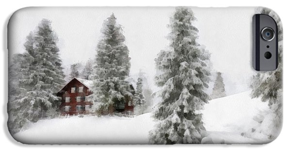 Snow Scene Digital iPhone Cases - Aquarell - Beautiful winter landscape with trees and house iPhone Case by Matthias Hauser
