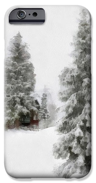 Aquarell - Beautiful winter landscape with trees and house iPhone Case by Matthias Hauser