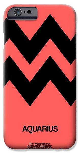 Aquarius iPhone Cases - Aquarius Zodiac Sign Black iPhone Case by Naxart Studio