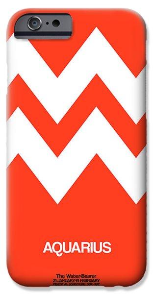 Aquarius iPhone Cases - Aquarius Zodiac Sign White on Orange iPhone Case by Naxart Studio